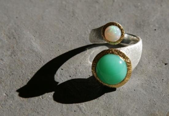 Anpa Jewellers: chrysoprase & opal ring
