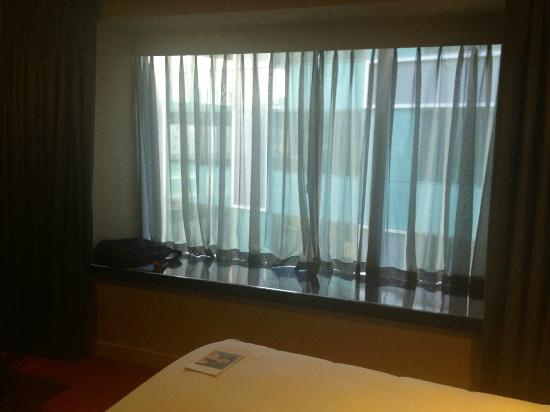 Park Plaza Westminster Bridge London: large window into center of hotel from bedroom (blackout curtains)