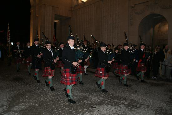 Novotel Ieper Centrum: Bagpipes preceding Last Post Ceremony in the lead up to Remembrance Day