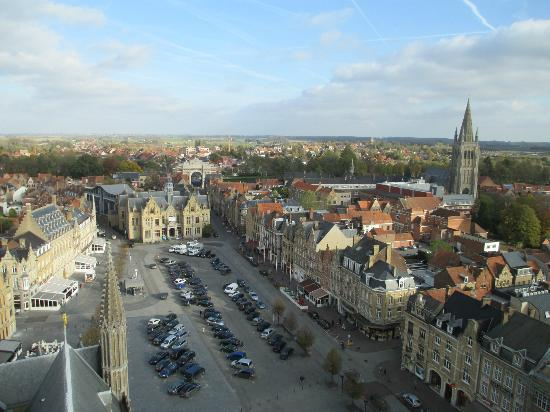 Novotel Ieper Centrum: Novoel is next to the church spire, with the Menin Gate arch in background, taken from Belfry.