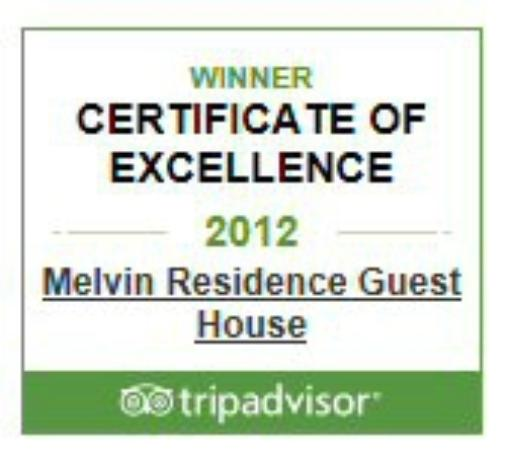 Melvin Residence Guest House: 2012 Certificate of excellence
