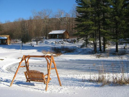 Sterling Ridge Resort: Skating pond with swing in winter