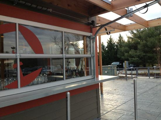"""The Ale House Columbia: Outdoor Bar w/""""Garage Door"""" windows"""