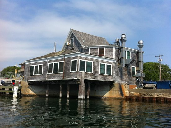 Woods Hole, MA: View of the Fishmonger from the channel below the drawbridge.