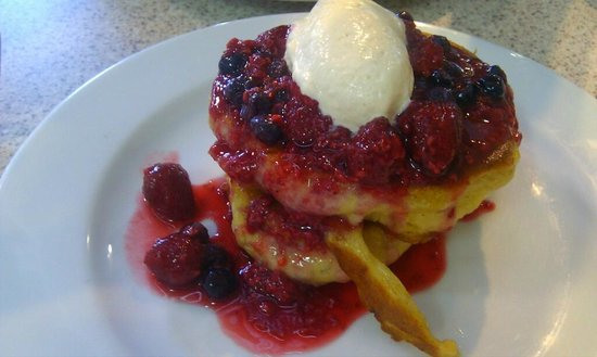Brasserie Bread: Sourdough pancakes with berries and honeycomb cream