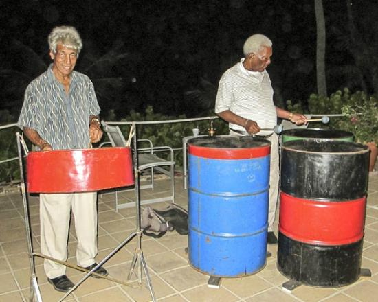 The Pavillion at Little Dix Bay: Morris Mark and Peter serenade us with steel drums