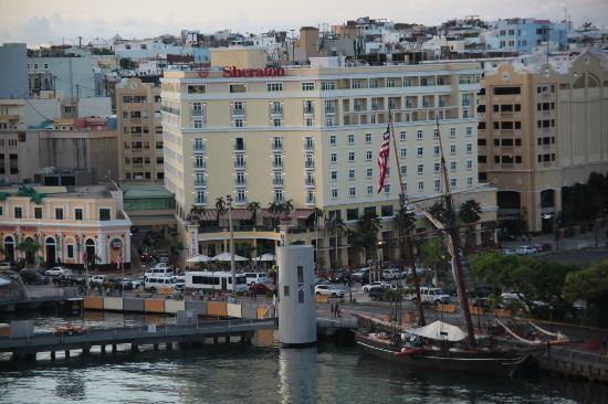 Sheraton Old San Juan Hotel: Sheraton Old San Juan. View from cruise ship at terminal.