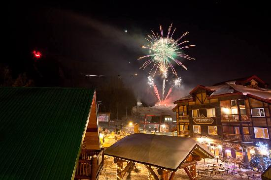 Fernie, Canada: Fireworks at the resort plaza