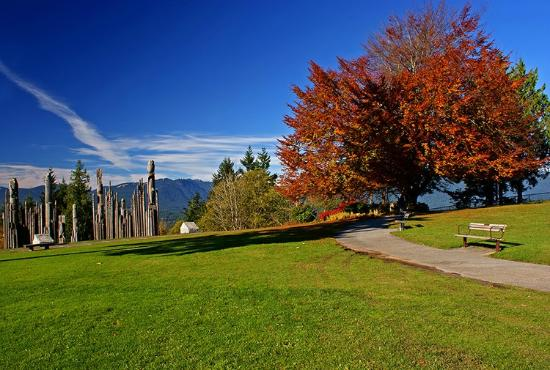 Burnaby Mountain Park: View of the Japanese totems and the mountains