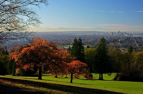 Burnaby Mountain Park: View towards downtown Vancouver from Burnaby Mountain