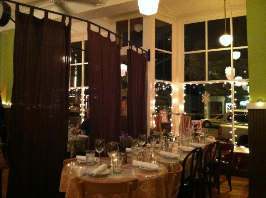Sweet Laurette Cafe and Bistro: Dining room showing a cool divider seperating a private party