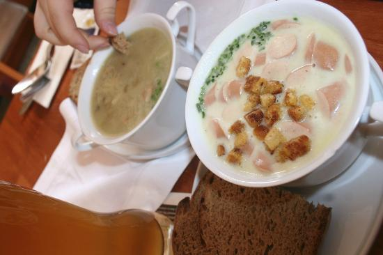 Bistro zum See: Our soups: split pea and creamy potato with Vienna sausages and croutons