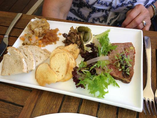 The Studio Gallery & Bistro: Studio Bistro charcuterie trio with condiments and sour dough