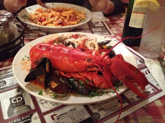 Giovanni's: Lobster Pescatore: a full lobster, crabmeat, shrimp, clams, muscles, and calamari all over pasta