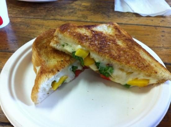 Ernie's Bakery and Deli : two kinds of cheese with perfectly steamed veggies including asparagus & broccoli between perfec