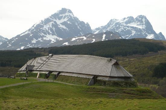 Lofoten Island: Ein typisches Langhaus der Vikinger, rekonstruiert in Borg