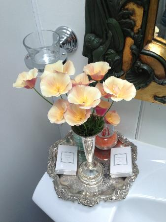 The Factory: The beautiful fresh flowers from the garden in our bathroom