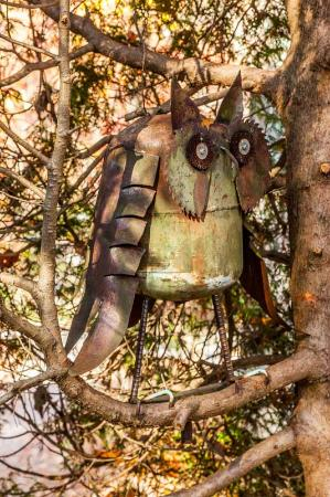 The Martyn House : Owl Sculpture in Trees