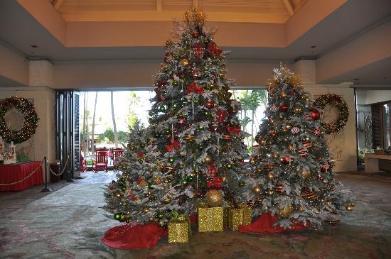 Christmas Trees In The Main Lobby Picture Of Hilton Hawaiian