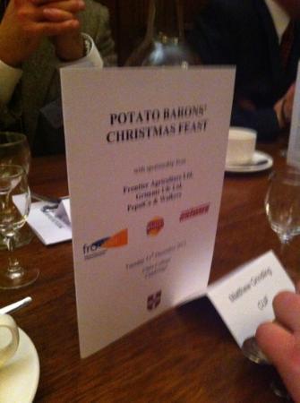 Clare College : menu