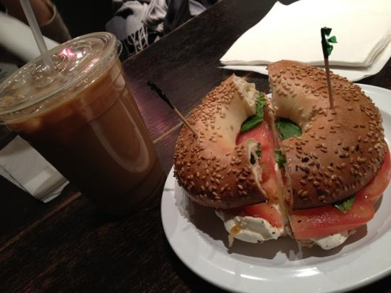 Macchiato Espresso Bar : great sesame bagel toasted with cream cheese, tomato & basil