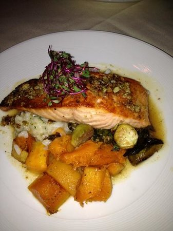 Horizons Restaurant: Atlantic Salmon with pumpkin seed crust, risotto, butternut squash and Brussel sprouts