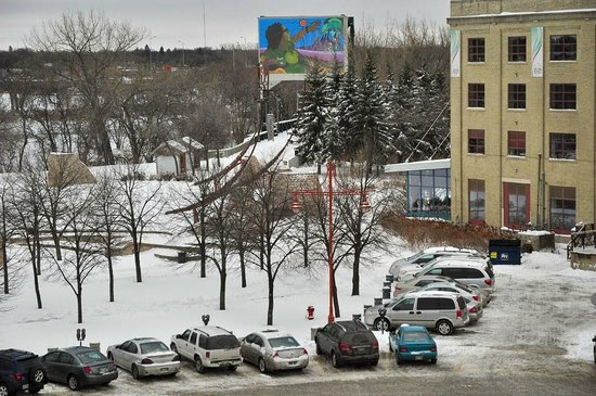 View of Mike Valcourt mural from our room, Inn at the Forks
