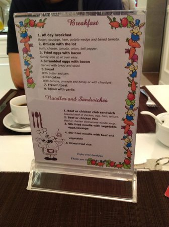 Calypso Suites Hotel: the breakfast menu to choose from