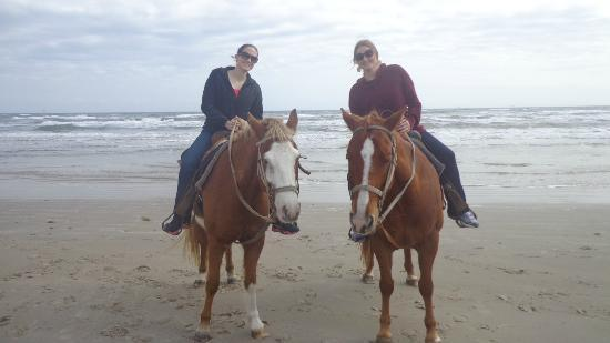 Horses On The Beach: Corpus Christi : Guide got off her horse to snap a photo of my friend and me