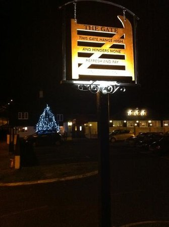 The Gate Inn: all lit up for Christmas...
