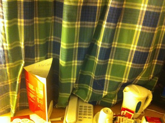 Campanile Birmingham: Curtain drawn covers the kettle and phone