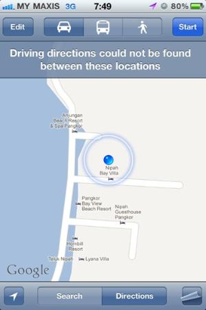 นิพาห์ เบย์ วิลล่า: A GPS location of the hotel( almost opposite Pangkor Bay View Beach Resort)