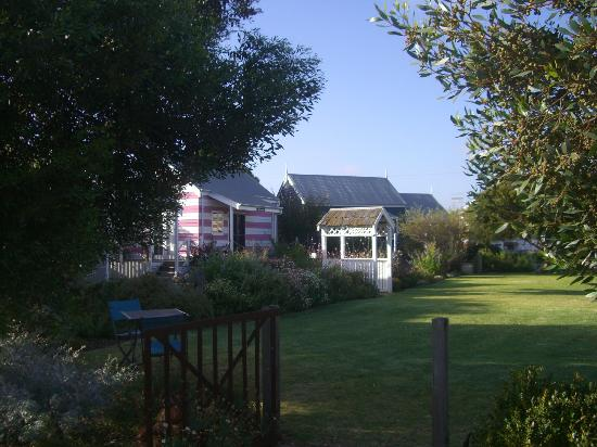 Beach Huts Middleton: view across the green