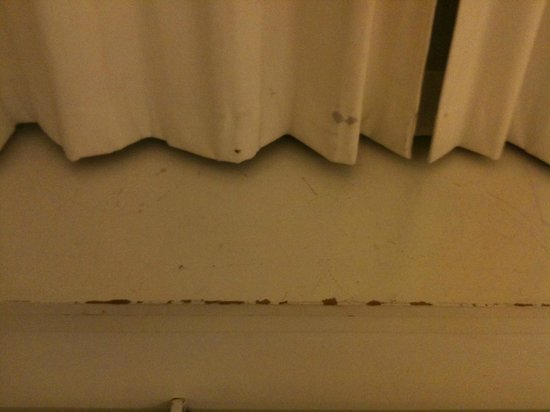 First Hotel Twentyseven : Dirty curtain and scuffed counter