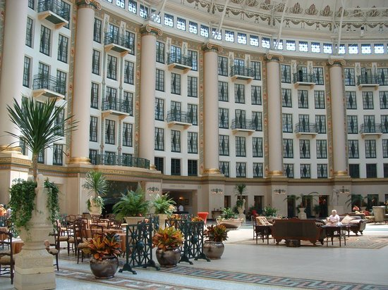 West Baden Springs Hotel: Inside the rotunda. Inside rooms look out into rotunda