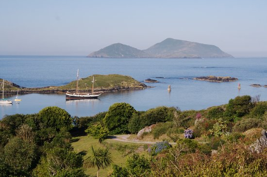 Iskeroon: View from the garden, overlooking Derrynane Harbour