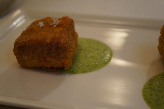 Ristorante Fondo al Banchetto : cotolettina di tonna su crema di zucchine