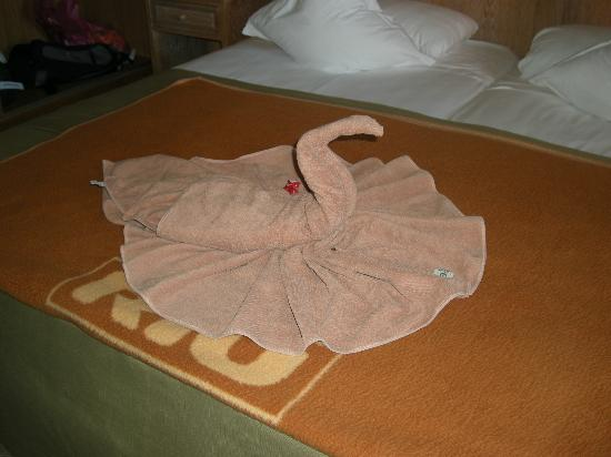 ClubHotel Riu Guarana: First day - pretty swan towel on bed