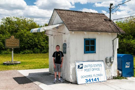 Ochopee Post Office: Son in Front of Post Office for Scale