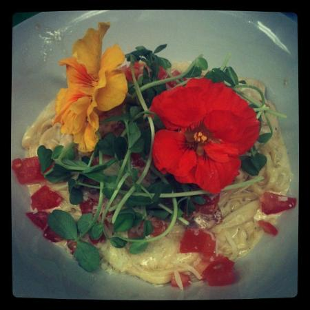 Bennett Bay Bistro: local pea shoot and nasturtiums
