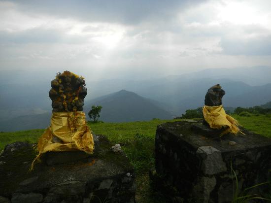 Paradisa Plantation Retreat: Idols of snake gods @ Panchalimedu - Light breaking through the clouds in the backdrop