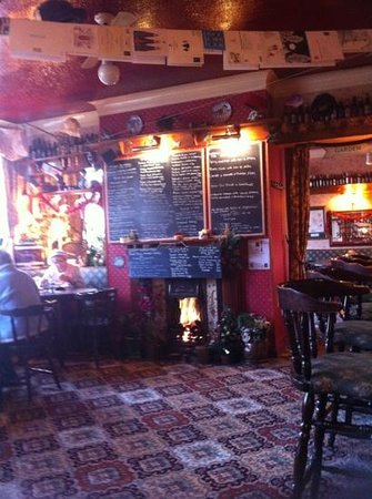 The White Swan: View of bar area and huge menu!
