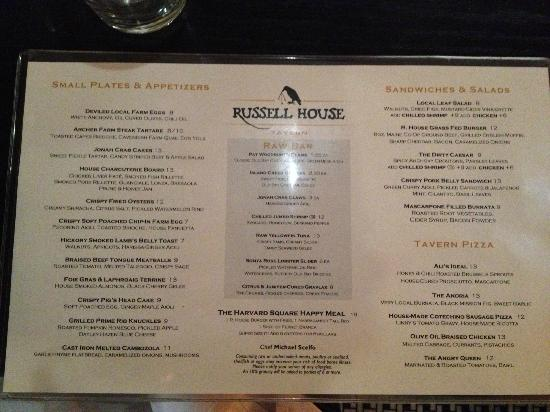 Russell House Tavern: THe Menu