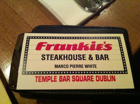 Frankies Steakhouse and Bar: business card