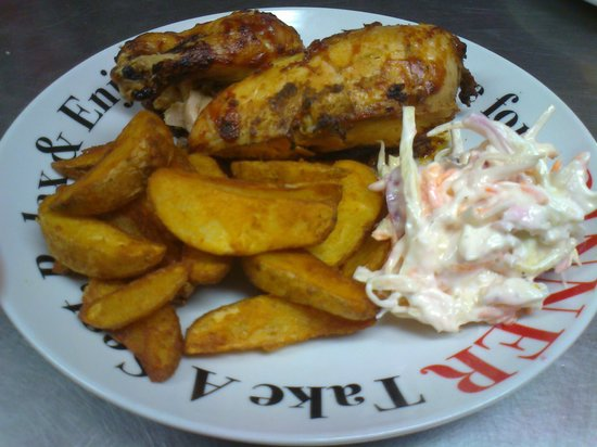 The Diner: 1/2 Texas BBQ Roast Chicken with Spicy Wedges and Coleslaw
