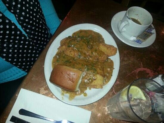 Court Street Cafe: crawfish acadian: fried catfish with crawfish etouffee