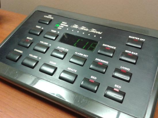 The Twin Towers Hotel: Control panel for lightings on bedside table
