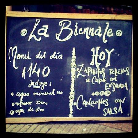 La Biennale: Menu del dia, sempre custando UY$ 140 (com bebida inclusa)