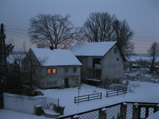 The Blue Beetroot: Snowy night view from room