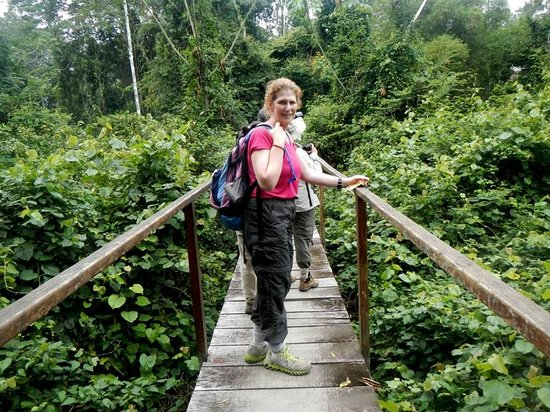 Tambopata Research Center: Caryn on the Bridge